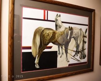 Popo and Ruby Lee Horses, Lithograph