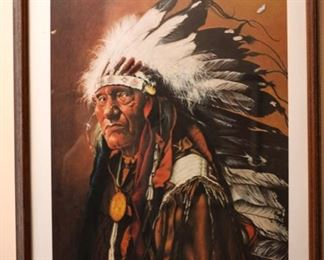Native American Vintage Indian Chief Poster
