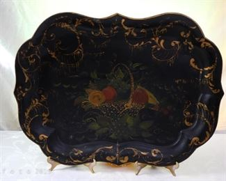 Antique 19th C. French Victorian Hand Painted Birds Tole Metal Toleware Tray