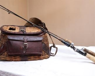 Vintage Wicker Fishing Creel/Basket with Leather Banding and Front Pouch and Fishing rods