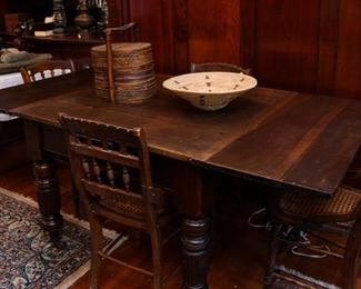 Antique Victorian Farmer Removable Top Table
