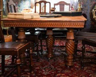 Antique oak victorian square dining table with  five leaves