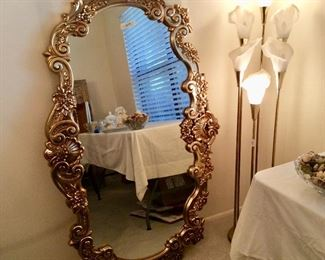 Great looking giant mirror  (actually goes horizontal) Cool vintage  Hollywood Regency Calla Lilly lamp $125.00