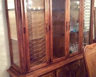 large china cabinet, glass shelves and drawers on bottom $425.00, perfect for display and storage