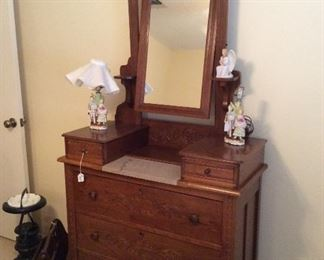 beautiful antique dresser/vanity with tilted mirror on top, with small marble slab, pristine condition $300.00