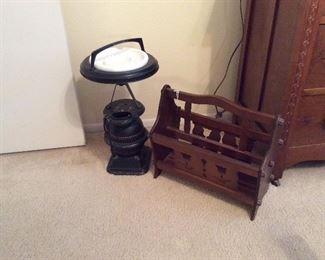 Vintage magazine rack $35.00, cast iron ashtray stand $35.00