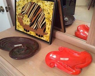 vintage art and ashtrays