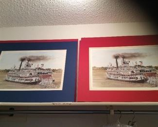 we have 6 of these Natchez Paddlewheel signed and numbered prints, artist is Bill Brown, two are framed