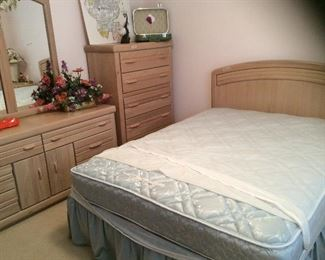 Bedroom # 3  Friday update bed and chest of drawers is sold. OVaughan  of  Virginia washed pine.  Could be painted.  This room has a queen size bed, one night stand, chest of drawers and dresser with mirror. The discounted price for all is $650.00, individual prices are on following pictures