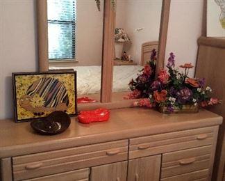 Vaughan of Virginia dresser with mirror $250.00, queen headboard with mattress set $ 275.00