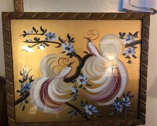 lovely paint on glass birds