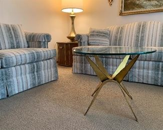 Sofa, love seat and great mid century design glass top table.