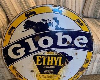 "Rare 30"" Globe with Ethyl gasoline sign!"