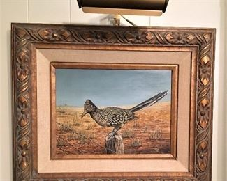 FABULOUS ARTIST SIGNED OIL PAINTING OF OUR FRIEND THE ROADRUNNER.  WONDERFULLY FRAMED WITH SHOW LIGHT.