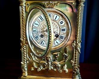 Antique Brass Mantle Clock