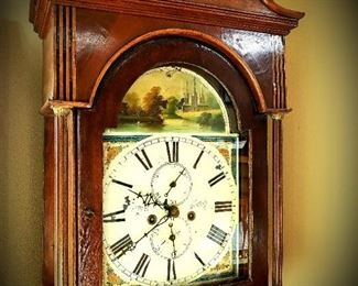 Antique grandfather clock, hand-painted face