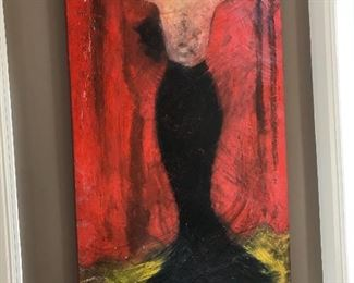 "Large Painting by David Harouni ""Back View Red Background"""