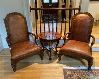 Pair of Leather Maitland Smith Chairs & Maitland Smith Game Table