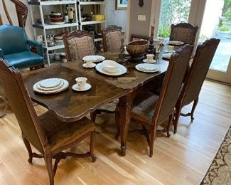 Draw Leaf Parquetry Top Dining Table