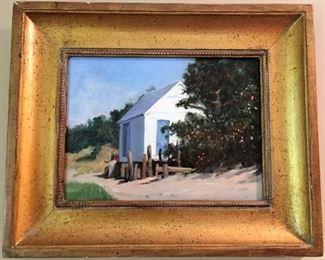 "Ron Schaffer (Pamet River Boat House) 1996 17""x14"", framed"