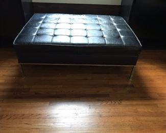 Mid-Century leather and chrome ottoman by Harvey Probber.  Originally in Rosenblum's Department store in downtown Hammond in the 1960s
