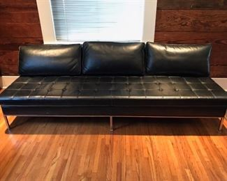Mid-Century 3 cushion leather and chrome sofa by Harvey Probber.  Originally from Rosenblum's Department Store in Hammond.