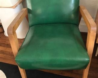 Green Mid-Century arm chair -- we have 2