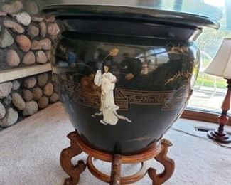 Extra large Asian Fishbowl planter; wooden stand, and glass table top