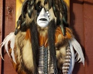 Native American Cheyenne Dog Soldier spirit mask, mounted on wood