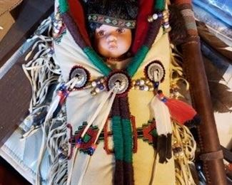 Native American porcelain Papoose doll