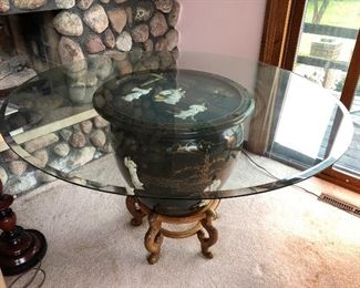 Asian fishbowl planter, lidded, with stand and glass table top