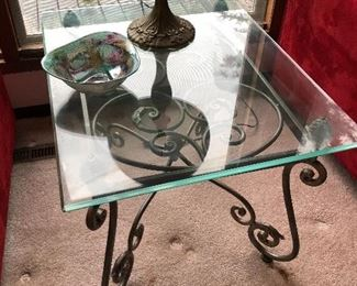 Glass and metal end tables, 2