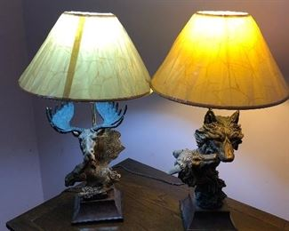 Moose and Wolf lamps