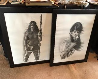 Native American sketches, signed and numbered