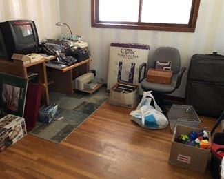 Office desk, electronics, etc.