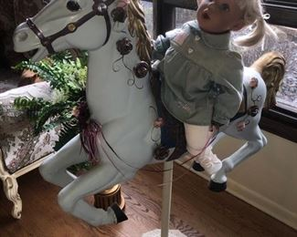 Carousel horse with Pat Secrist doll!