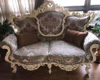 French Provincial (Rococo?) loveseat with matching........