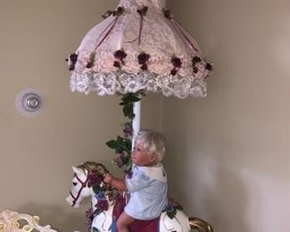 Carousel horse lamp with another Pat Secrist doll!