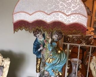 Capodimonte lamp with beaded lampshade