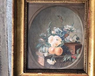Pair of antique French gouache paintings