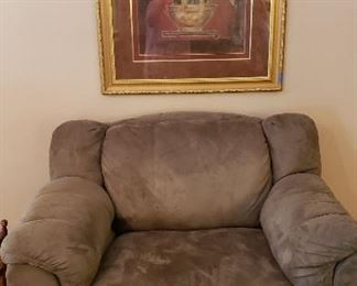 overstuffed suede chair, rug.  This framed print NOT FOR SALE