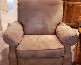 Lazy Boy classic suede recliner, rug