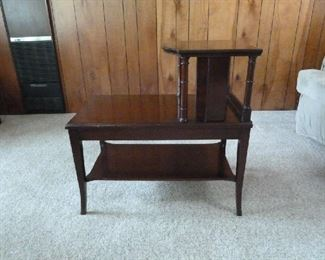 tiered mahogany end table