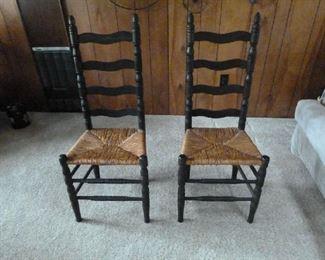 ebony ladder back chairs