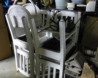 white table and four chairs