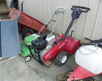 garden tiller and lawn mower