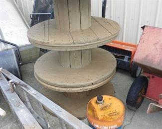 huge wooden spools