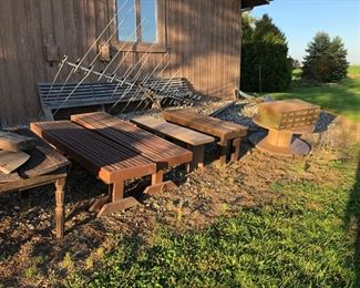 wooden deck benches