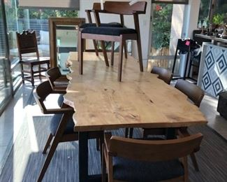 Table is by Arbor exchange Pasadena .Ca  Chairs are from Article One