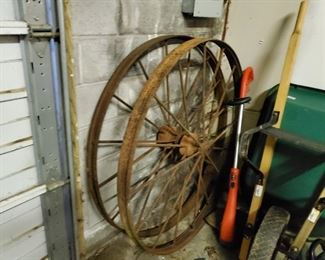 Large Metal Spoked Wheels.